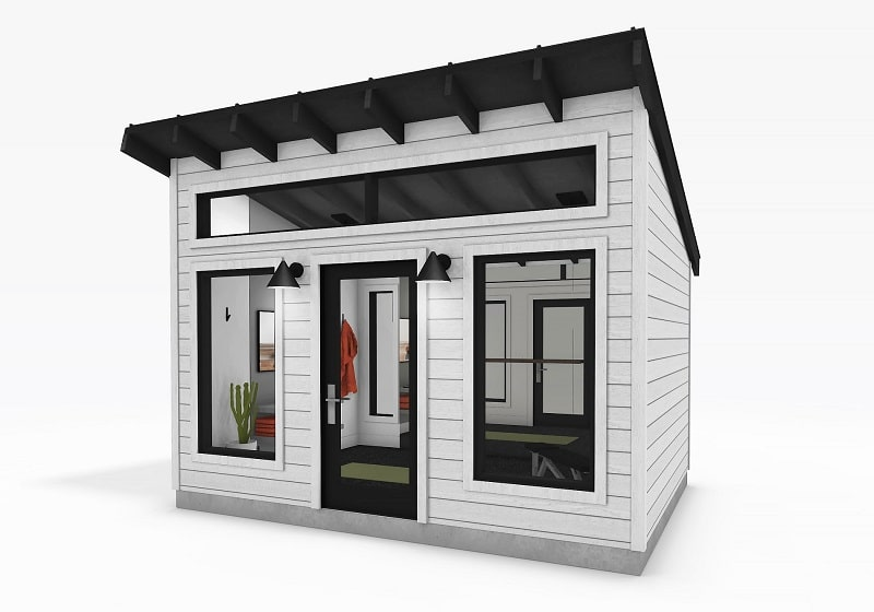 Modern Series Shed exterior view white siding 3