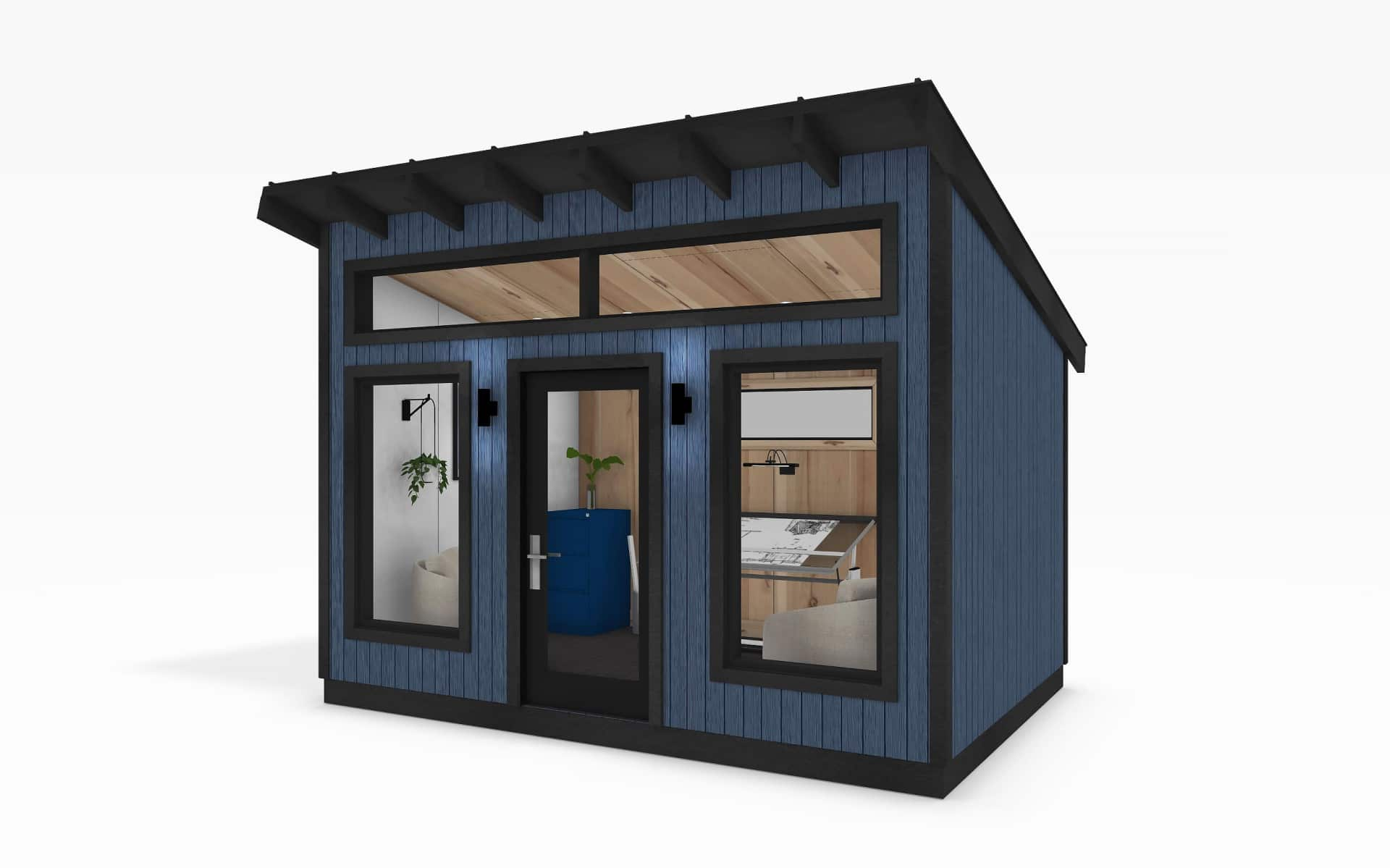 Modern Series 10 x 14 shed blue exterior office interior