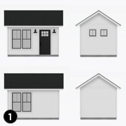 Cabin Guest House Design Elements 1 window and door layout